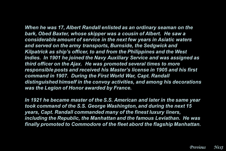 NextPrevious Rear Admiral Albert B. Randall, U.S.N.R.