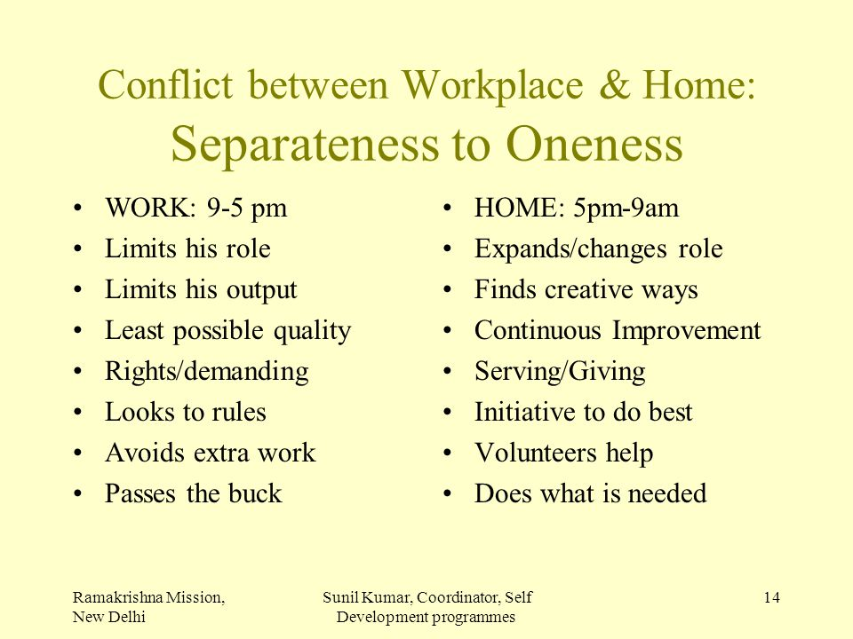 Ramakrishna Mission, New Delhi Sunil Kumar, Coordinator, Self Development programmes 14 Conflict between Workplace & Home: Separateness to Oneness WOR