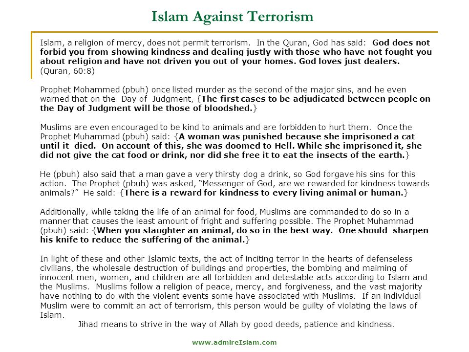 www.admireIslam.com Islam Against Terrorism Islam, a religion of mercy, does not permit terrorism.