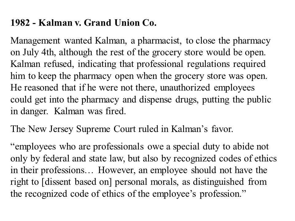 1982 - Kalman v. Grand Union Co.
