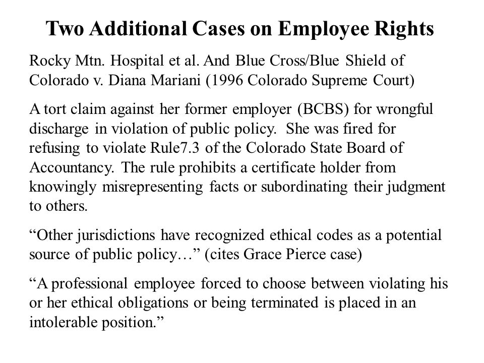 Two Additional Cases on Employee Rights Rocky Mtn.