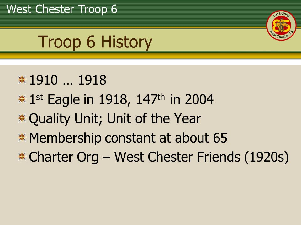 West Chester Troop 6 Organization Leadership 6 members 15-18 SM (5yr) ASM – Equip (3yr) ASM - Eagles (8yr) New Scouts 12 members 11-12 Guides (3 14-15) ASM (2yr) ASM (1yr) Black Sheep 9 members 12-16 ASM (2yr) ASM (3yr) Eagle 10 members 11-14 ASM (3yr) Scorpion 11 members 12-15 ASM (3yr) ASM (2yr) Squirrel Venture Patrol 17 members 16-19 ASM (6yr) ASM (7yr) First Years Join Regular Patrols after 1 year Fourteen y/o & Life can join Venture Patrol