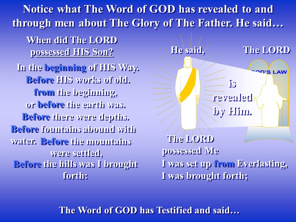 Notice what The Word of GOD has revealed to and through men about The Glory of The Father. He said… The LORD is revealed by Him. He said, The Word of