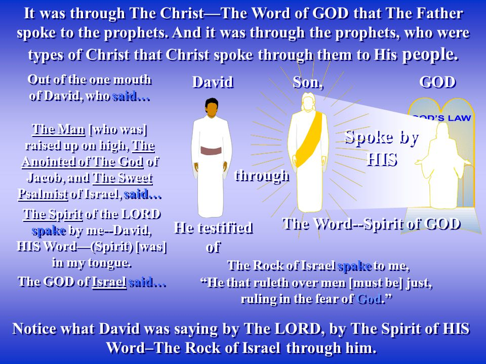 It was through The Christ—The Word of GOD that The Father spoke to the prophets. And it was through the prophets, who were types of Christ that Christ