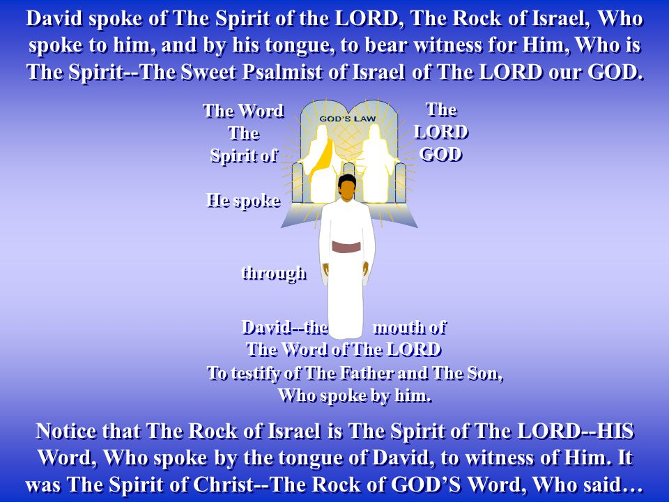 Notice that The Rock of Israel is The Spirit of The LORD--HIS Word, Who spoke by the tongue of David, to witness of Him. It was The Spirit of Christ--