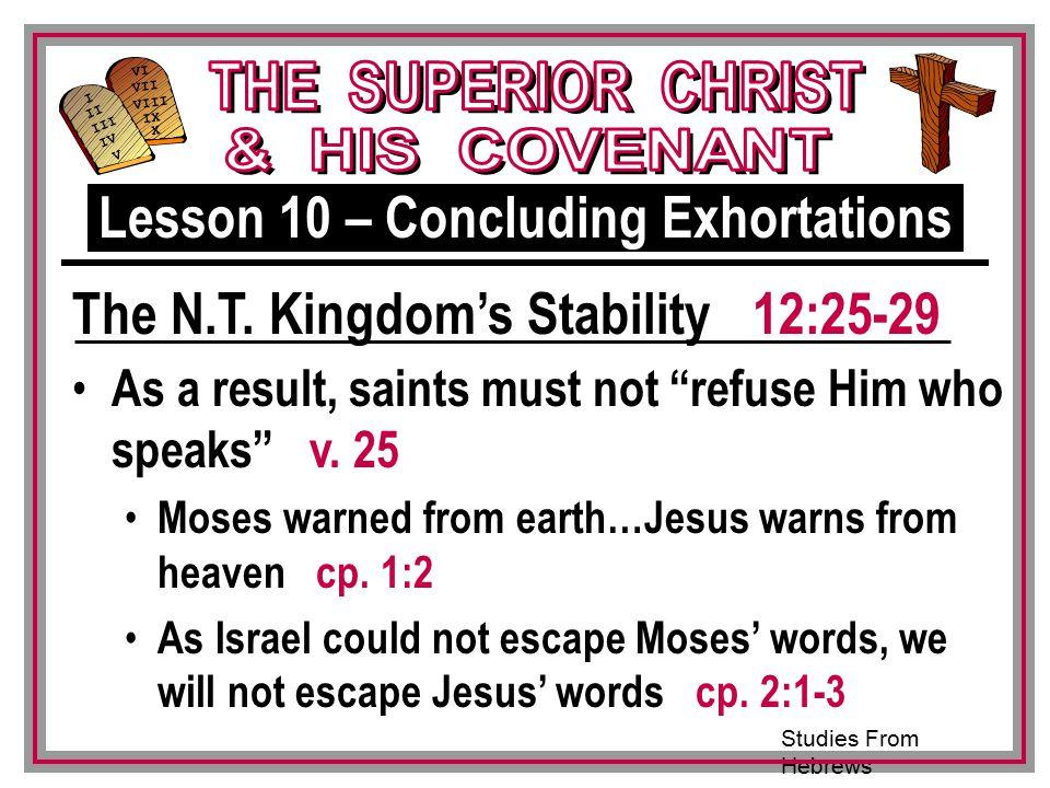 Studies From Hebrews III VI VII VIII IX X I II IV V III As a result, saints must not refuse Him who speaks v.