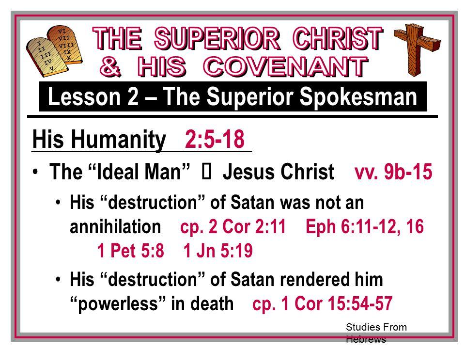Studies From Hebrews III VI VII VIII IX X I II IV V III The Ideal Man Ù Jesus Christ vv.