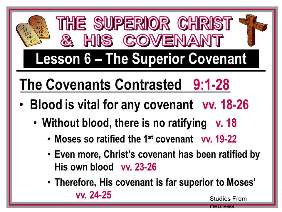 Studies From Hebrews III VI VII VIII IX X I II IV V III Blood is vital for any covenant vv.