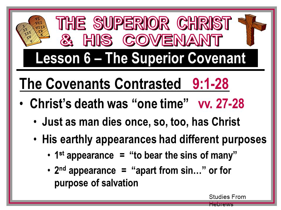 Studies From Hebrews III VI VII VIII IX X I II IV V III Christ's death was one time vv.