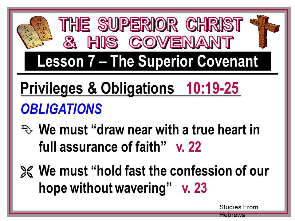 Studies From Hebrews III VI VII VIII IX X I II IV V III OBLIGATIONS Ê We must draw near with a true heart in full assurance of faith v.