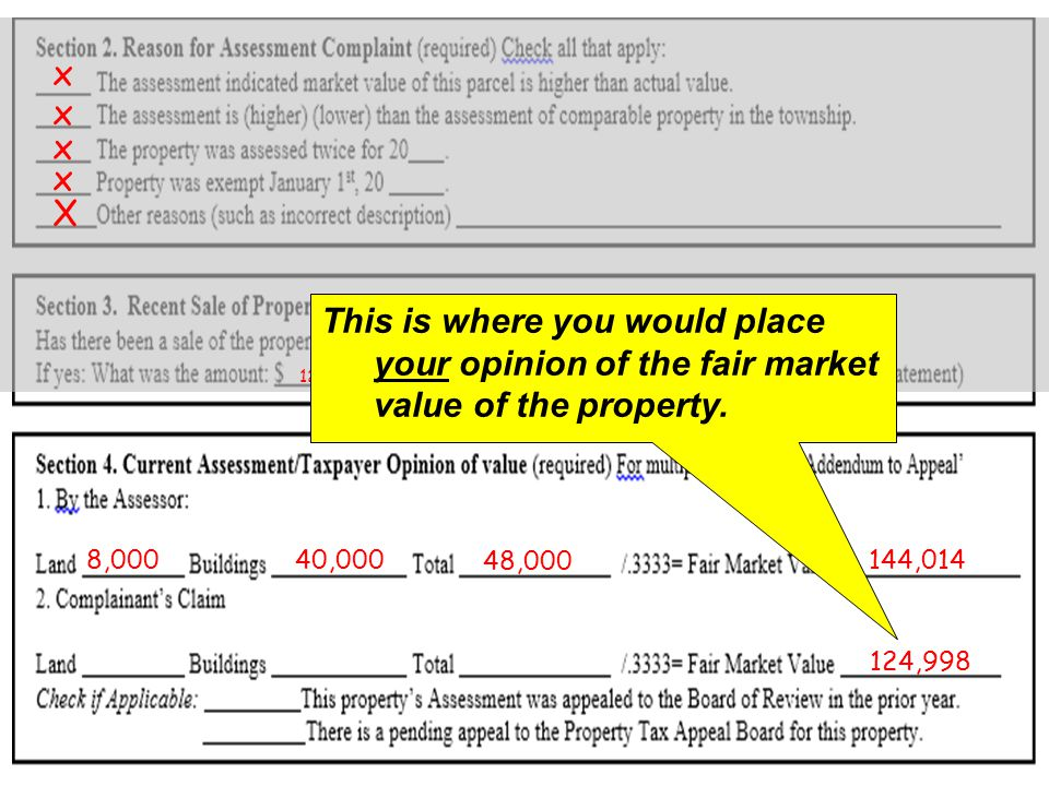 X x x x x x 125,0005/25/2012 8,00040,000 48,000 144,014 This is where you would place your opinion of the fair market value of the property.