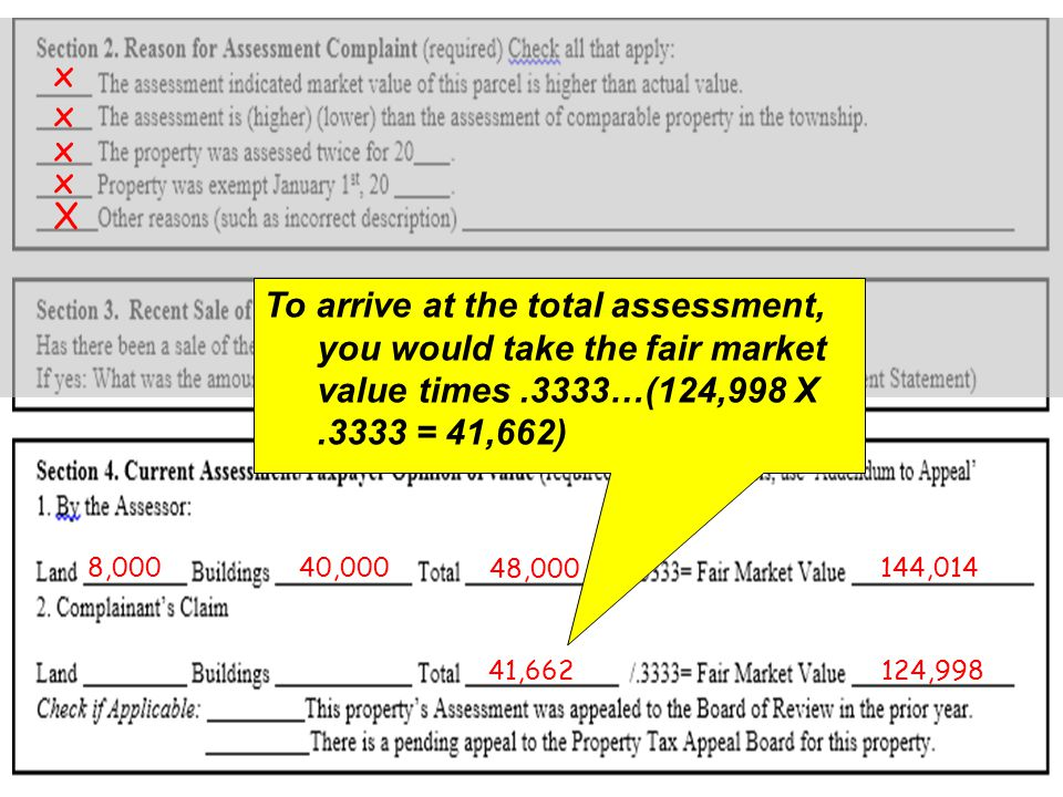 X x x x x x 125,0005/25/2012 8,00040,000 48,000 144,014 124,998 To arrive at the total assessment, you would take the fair market value times.3333…(124,998 X.3333 = 41,662) 41,662