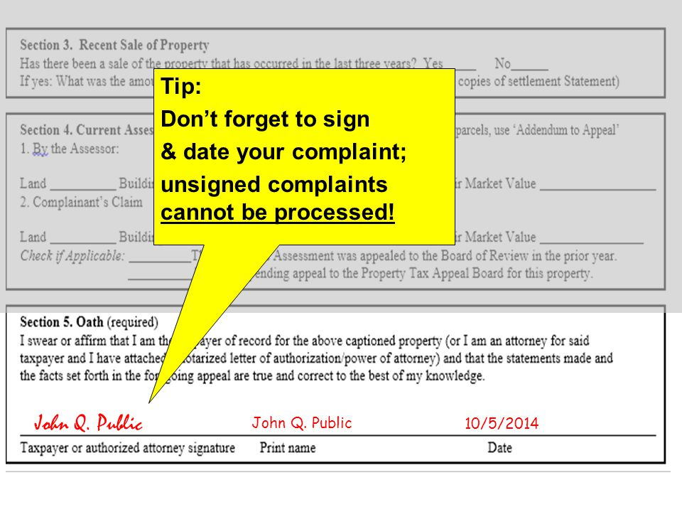 Tip: Don't forget to sign & date your complaint; unsigned complaints cannot be processed.