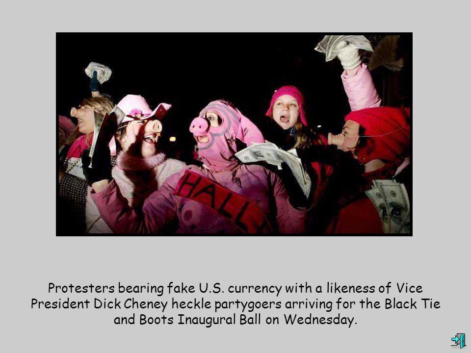 Protesters bearing fake U.S.