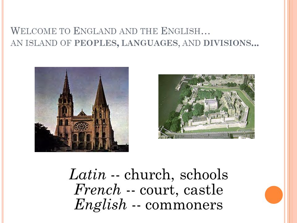W ELCOME TO E NGLAND AND THE E NGLISH … AN ISLAND OF PEOPLES, LANGUAGES, AND DIVISIONS... Latin -- church, schools French -- court, castle English --