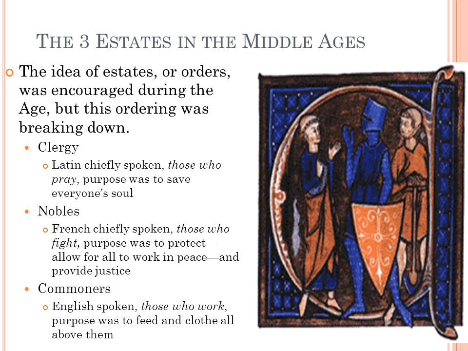 T HE 3 E STATES IN THE M IDDLE A GES The idea of estates, or orders, was encouraged during the Age, but this ordering was breaking down. Clergy Latin