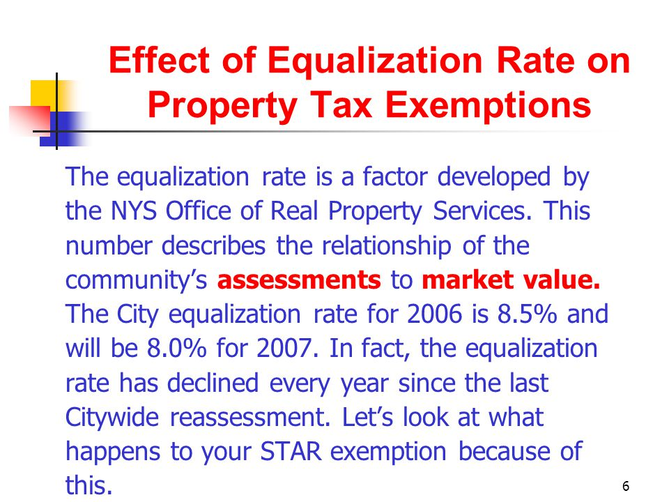 7 Effect of Equalization Rate on Property Tax Exemptions A) Max.