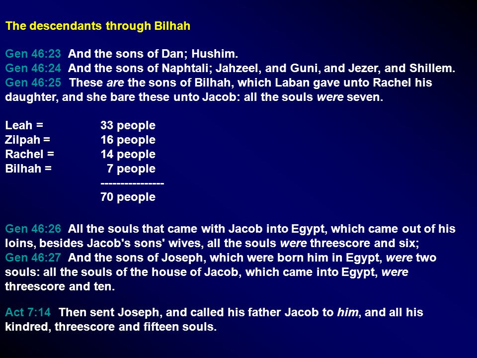 Gen 46:23 And the sons of Dan; Hushim. Gen 46:24 And the sons of Naphtali; Jahzeel, and Guni, and Jezer, and Shillem. Gen 46:25 These are the sons of