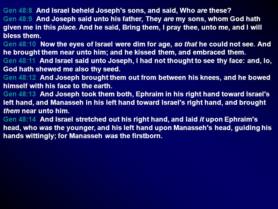 Gen 48:8 And Israel beheld Joseph's sons, and said, Who are these? Gen 48:9 And Joseph said unto his father, They are my sons, whom God hath given me