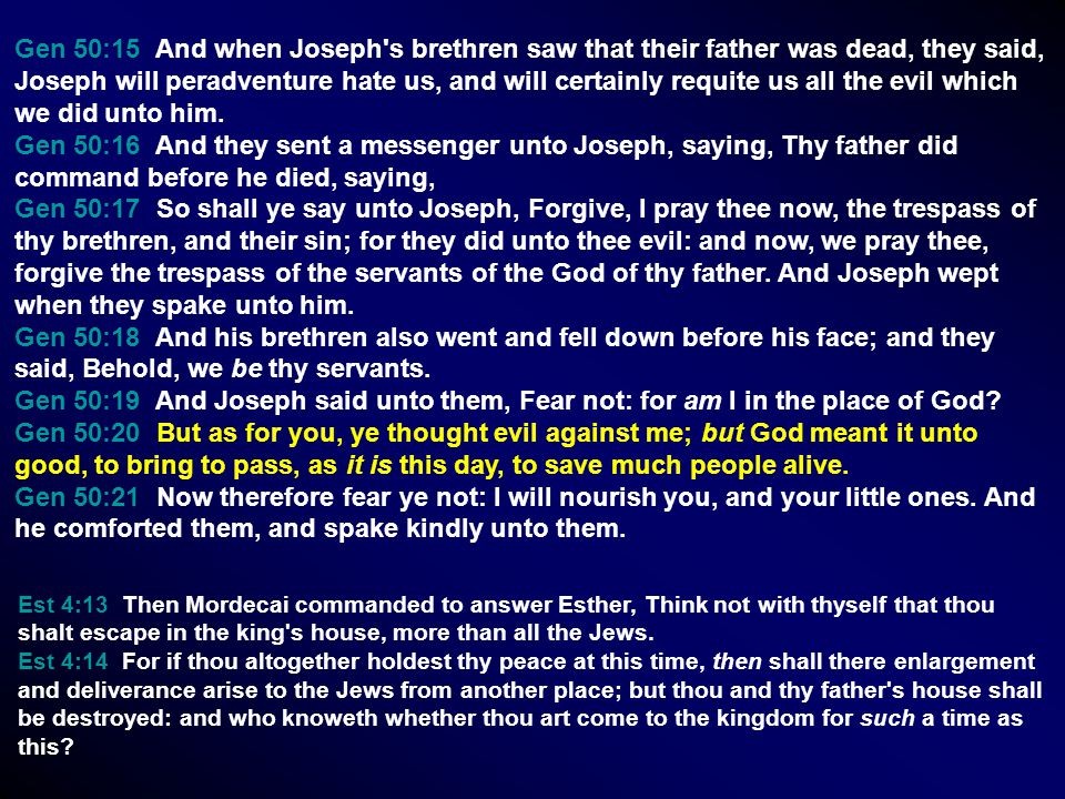 Gen 50:15 And when Joseph's brethren saw that their father was dead, they said, Joseph will peradventure hate us, and will certainly requite us all th