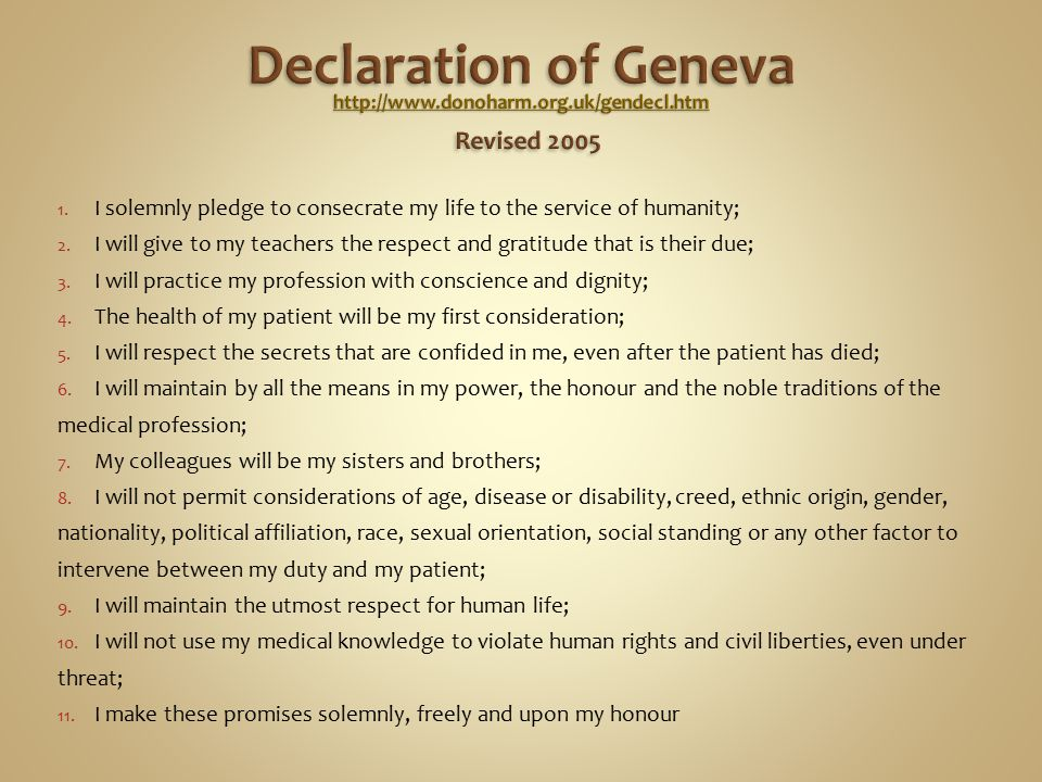 1. I solemnly pledge to consecrate my life to the service of humanity; 2. I will give to my teachers the respect and gratitude that is their due; 3. I