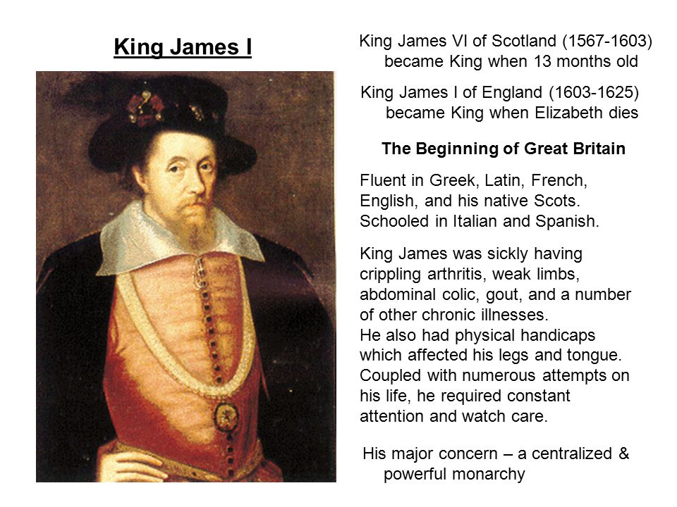 King James I When he ascended to the throne RC, Presb, & Anglicans all had high hopes for him RC – his mother, Mary, Queen of Scots, was catholic Presb – he was from Scotland; raised by Presb.