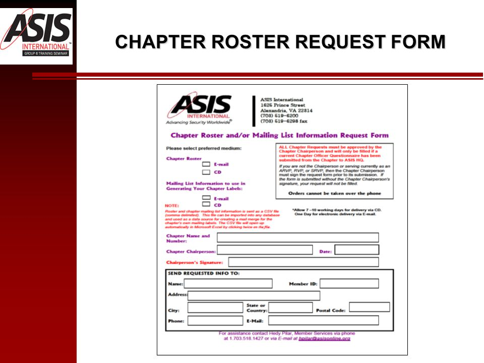 CHAPTER ROSTER REQUEST FORM
