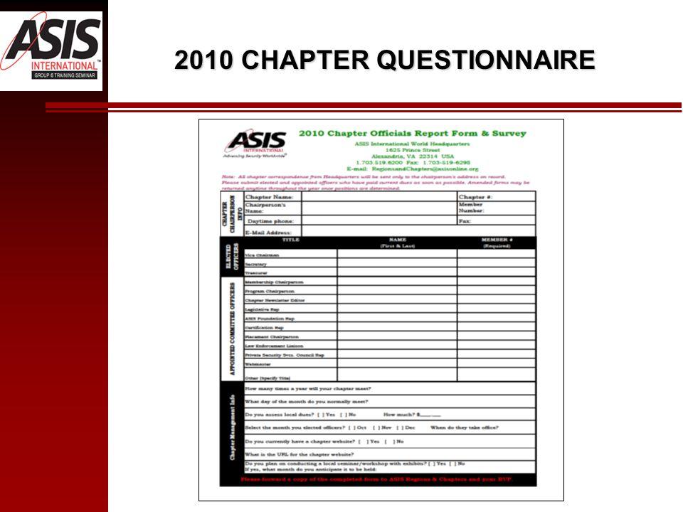 2010 CHAPTER QUESTIONNAIRE