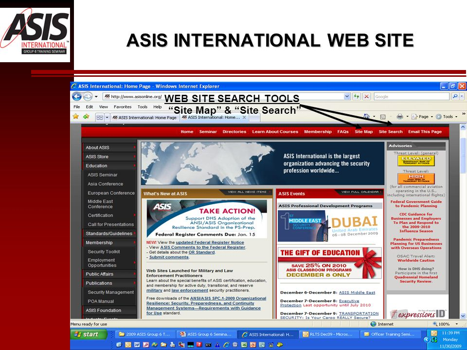 ASIS INTERNATIONAL WEB SITE WEB SITE SEARCH TOOLS Site Map & Site Search