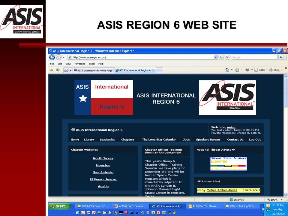 ASIS REGION 6 WEB SITE