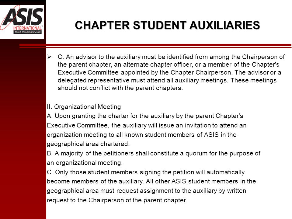 CHAPTER STUDENT AUXILIARIES  C.