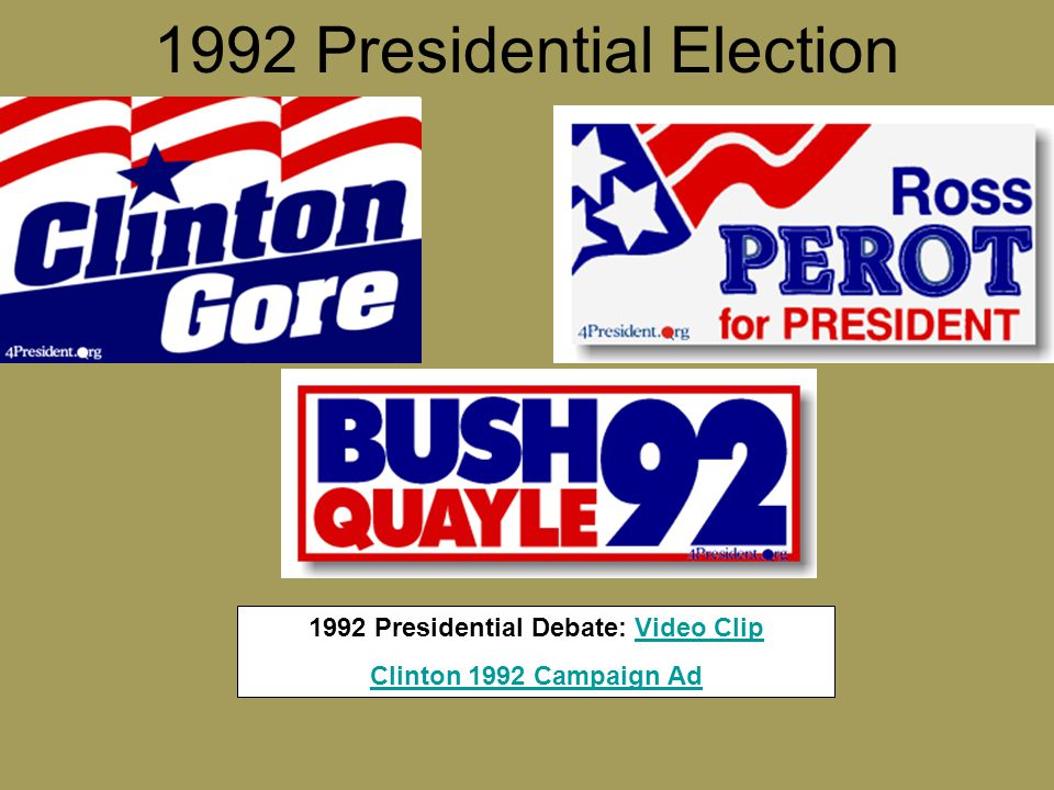 1992 Presidential Election 1992 Presidential Debate: Video ClipVideo Clip Clinton 1992 Campaign Ad