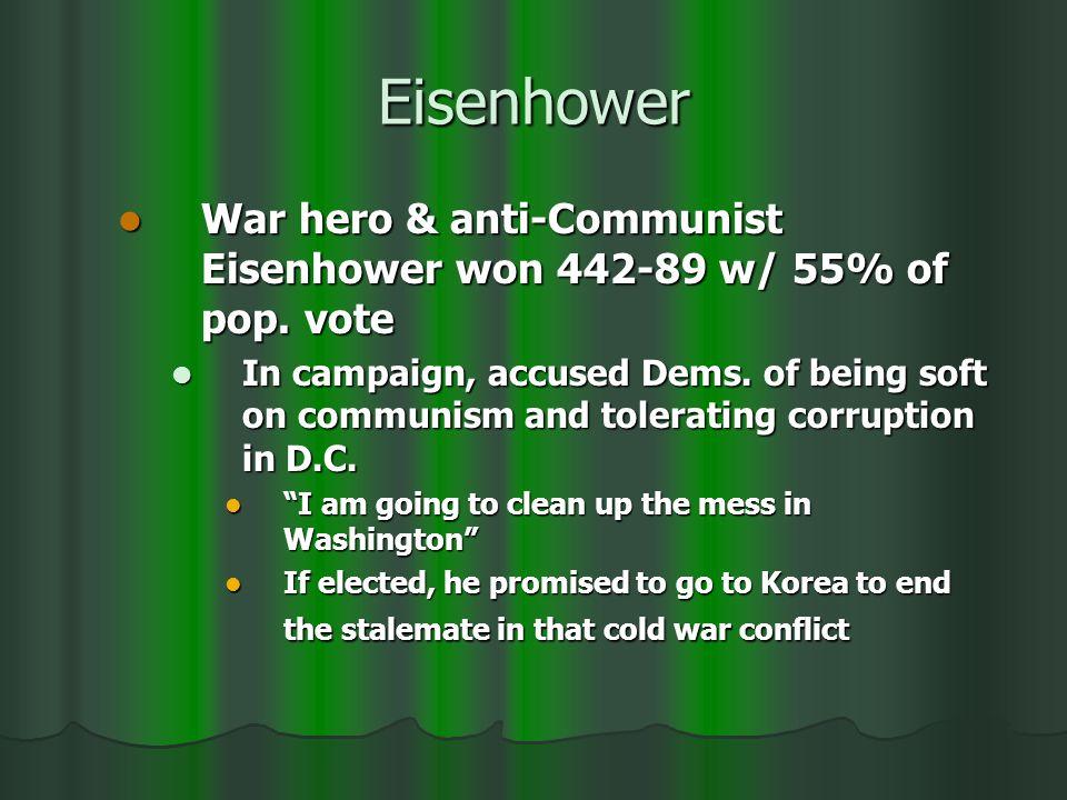 Eisenhower War hero & anti-Communist Eisenhower won 442-89 w/ 55% of pop.