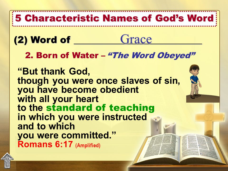 5 Characteristic Names of God's Word (2) Word of ___________________________ Grace 2.