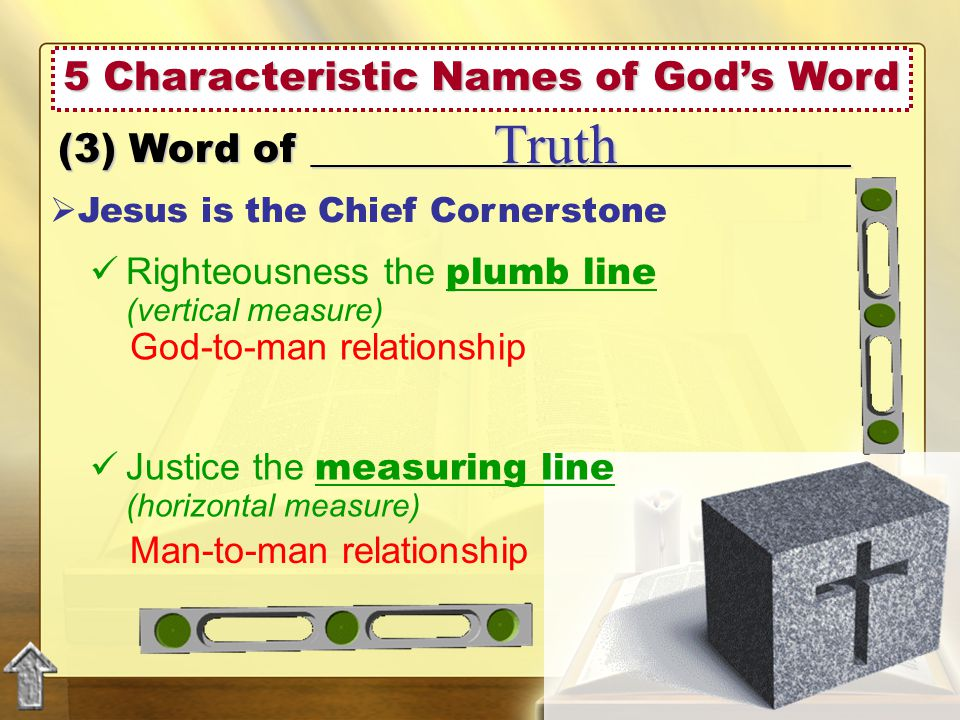 5 Characteristic Names of God's Word (3) Word of ___________________________ Truth  Jesus is the Chief Cornerstone Justice the measuring line (horizontal measure) Righteousness the plumb line (vertical measure) God-to-man relationship Man-to-man relationship