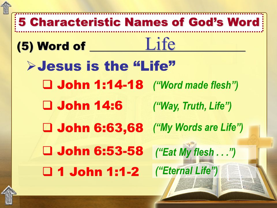 5 Characteristic Names of God's Word (5) Word of ___________________________ Life  Jesus is the Life  John 1:14-18  John 14:6  John 6:63,68  John 6:53-58 ( Word made flesh ) ( Way, Truth, Life ) ( My Words are Life ) ( Eat My flesh... )  1 John 1:1-2 ( Eternal Life )