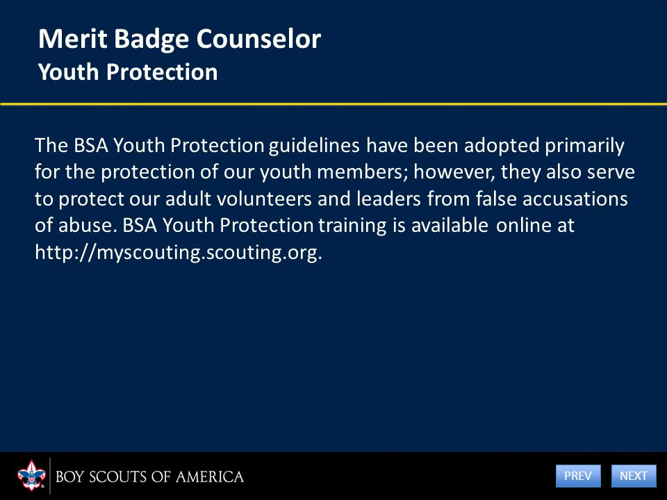 Merit Badge Counselor Youth Protection The BSA Youth Protection guidelines have been adopted primarily for the protection of our youth members; howeve