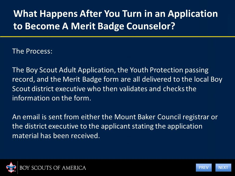 What Happens After You Turn in an Application to Become A Merit Badge Counselor? The Process: The Boy Scout Adult Application, the Youth Protection pa