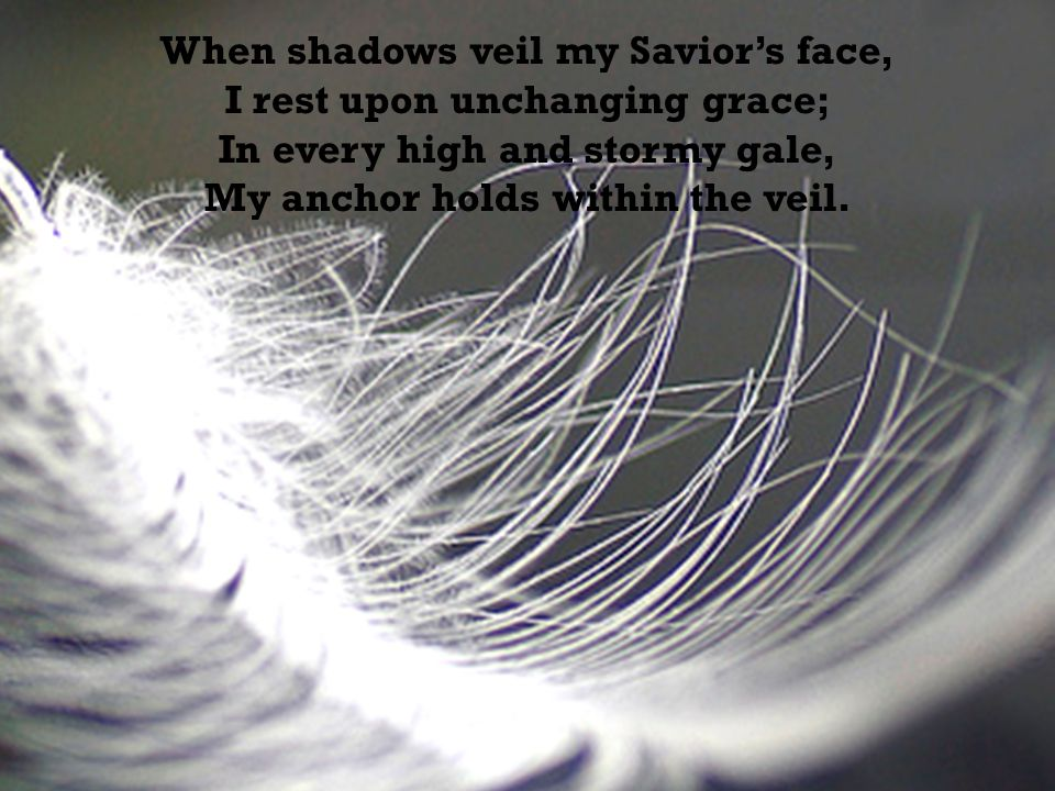 When shadows veil my Savior's face, I rest upon unchanging grace; In every high and stormy gale, My anchor holds within the veil.