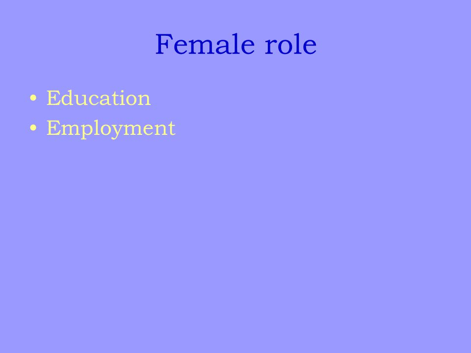 Female role Education Employment