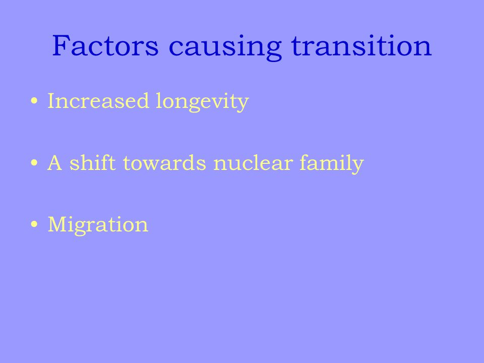 Factors causing transition Increased longevity A shift towards nuclear family Migration
