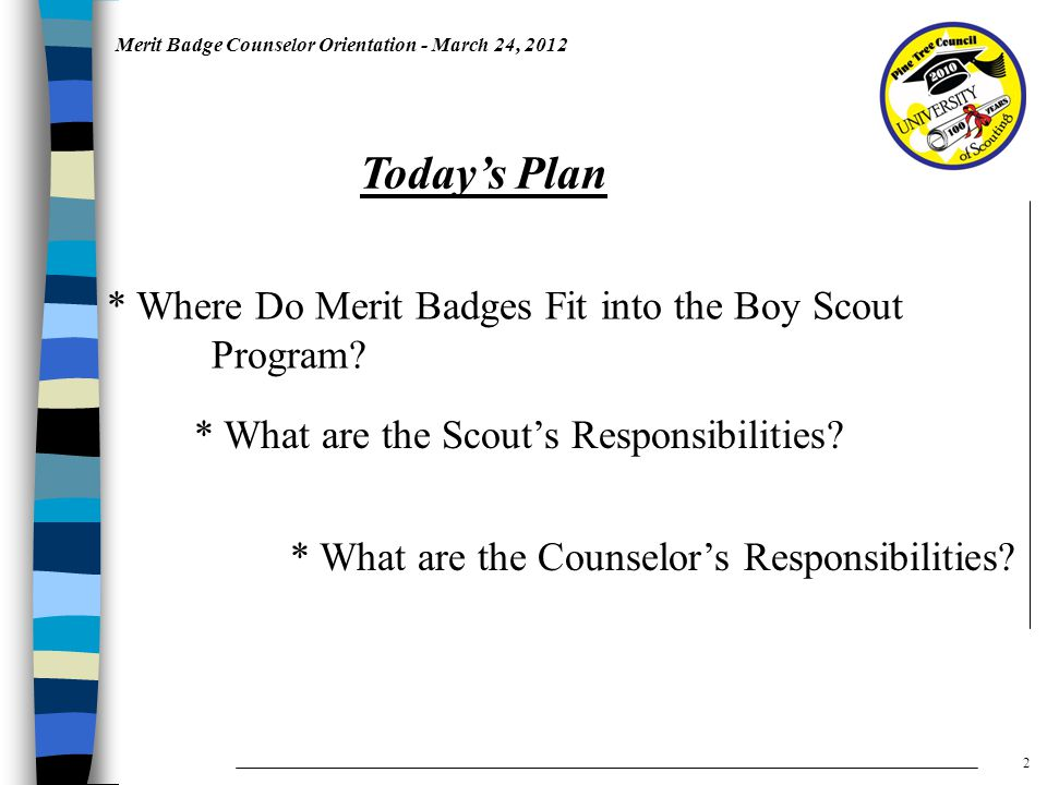 Merit Badge Counselor Orientation - March 24, 2012 * Where Do Merit Badges Fit into the Boy Scout Program.