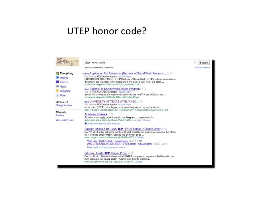 UTEP honor code?