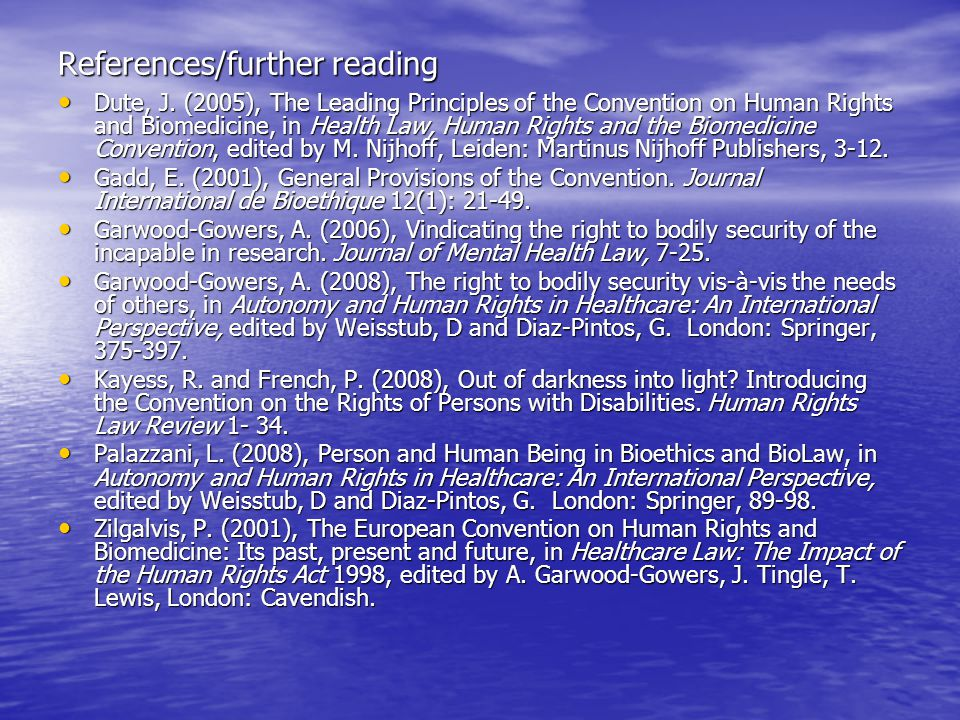 References/further reading Dute, J.