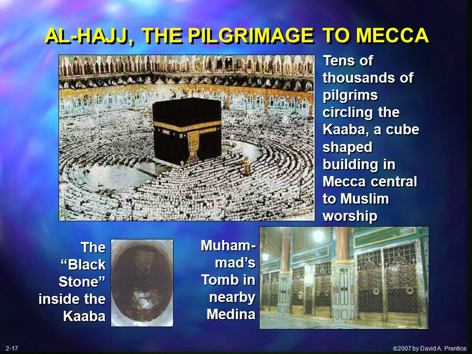  2007 by David A. Prentice AL-HAJJ, THE PILGRIMAGE TO MECCA Tens of thousands of pilgrims circling the Kaaba, a cube shaped building in Mecca centra