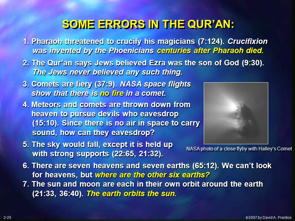  2007 by David A. Prentice SOME ERRORS IN THE QUR'AN: 2.