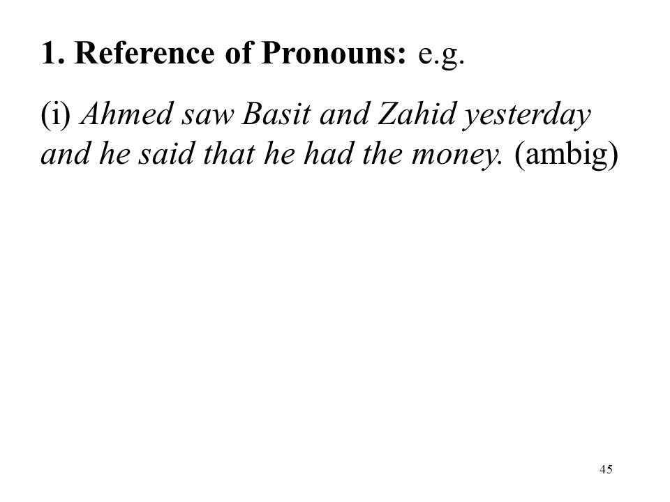 45 1. Reference of Pronouns: e.g.
