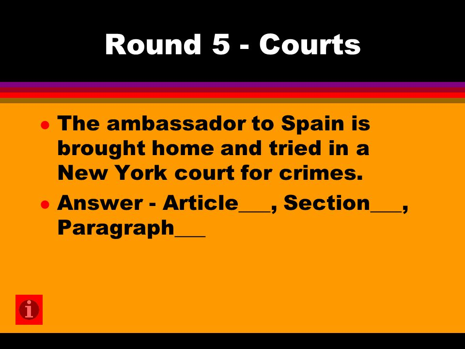 Round 5 - Courts l The ambassador to Spain is brought home and tried in a New York court for crimes.