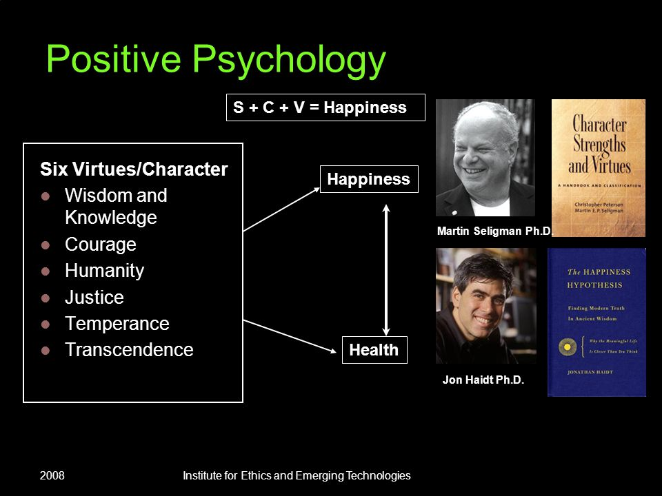 2008Institute for Ethics and Emerging Technologies Positive Psychology Six Virtues/Character Wisdom and Knowledge Courage Humanity Justice Temperance Transcendence Martin Seligman Ph.D.