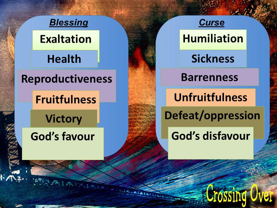 BlessingCurse Exaltation Health Reproductiveness Fruitfulness Victory God's favour Humiliation Sickness Barrenness Unfruitfulness Defeat/oppression Go